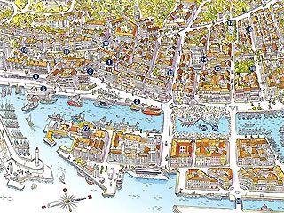 De plattegronden van de stad
